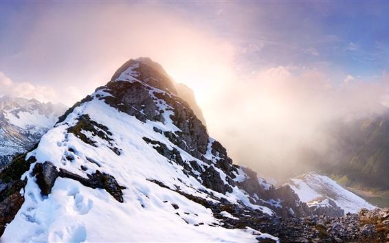 Fond d'écran Falschkogel, Tyrol, Autriche, montagnes, neige, soleil
