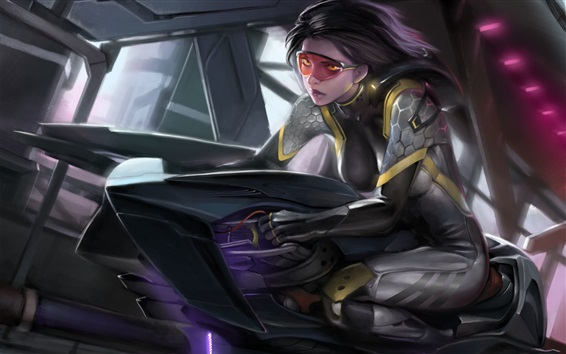 Wallpaper Fantasy art girl, glasses, future motorcycle