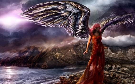 Wallpaper Fantasy girl, angel, wings, rocks, mountains, sea, clouds