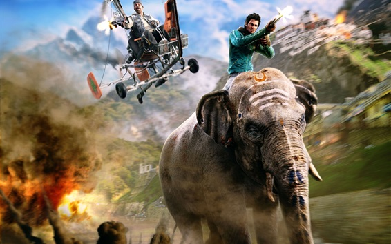 Wallpaper Far Cry 4, PS4 games, elephant
