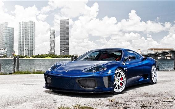 Wallpaper Ferrari 360 Modena blue supercar