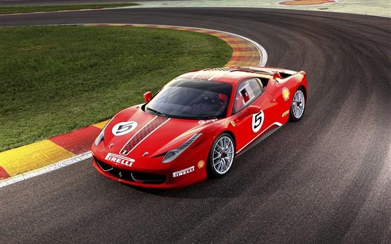 壁紙 フェラーリ458赤のスーパーカー、挑戦、トラック