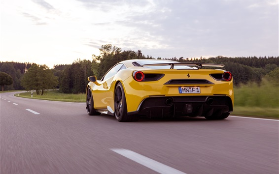 Wallpaper Ferrari 488 GTB yellow supercar back view and speed