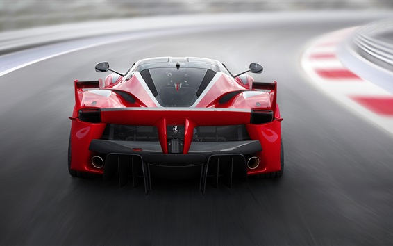 Wallpaper Ferrari FXX K red supercar back view, speed, road