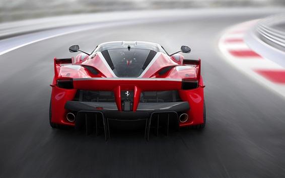 Обои Ferrari FXX K красный суперкар вид сзади, скорость, дорога