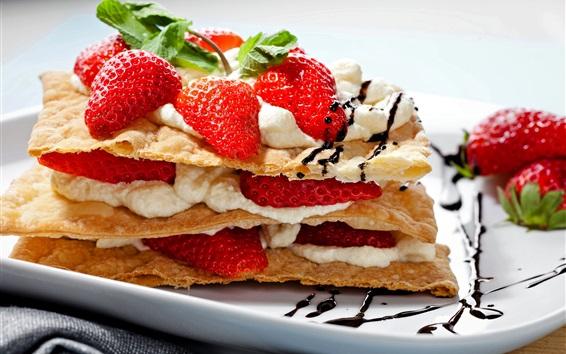Wallpaper Food, dessert, snack, strawberry, pancake, cream