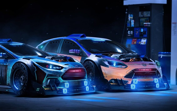 Wallpaper Ford Focus RS 2015 Neon supercars