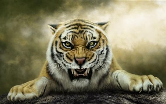Обои Лесной царь, тигр, лицо, большая кошка