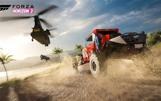 Wallpaper Forza Horizon 3, coast, palm trees