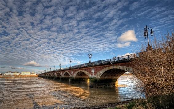 Wallpaper France, Aquitaine, Bordeaux, city, bridge, river, clouds