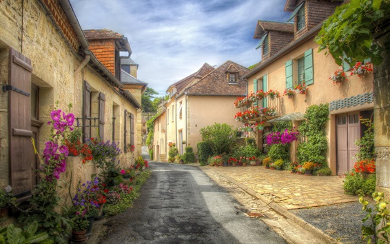 Wallpaper France, Aquitaine, street, houses, town, flowers