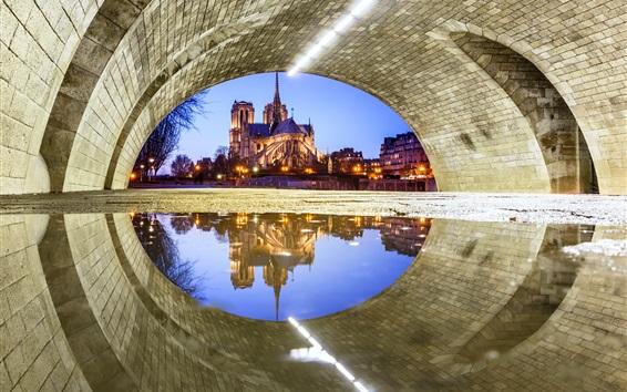Обои Франция, Париж, Собор Парижской Богоматери, под мостом, вода отражение