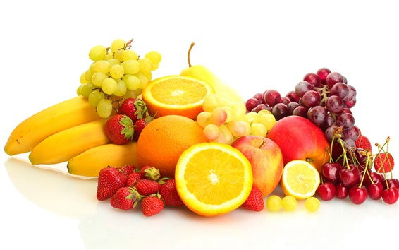 Fondos de pantalla Frutas frescas, uvas, naranjas, cerezas, fresas, plátanos, peras, manzanas