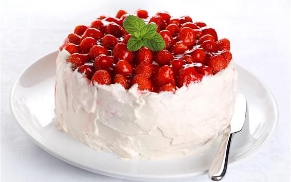 Wallpaper Fruit cake, cream, strawberries, dessert
