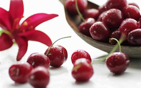 Обои Плоды макросъемки, красные вишни, капли воды
