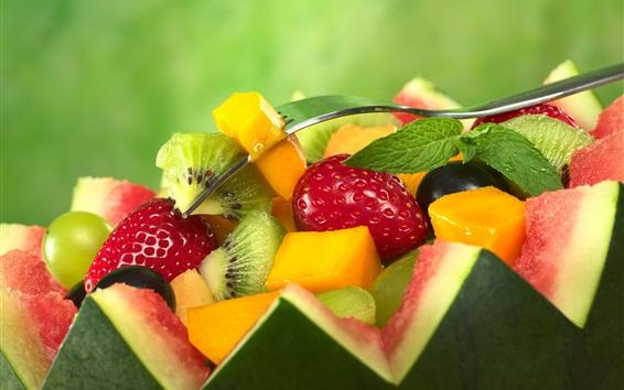 Wallpaper Fruit salad, watermelon, strawberries, kiwi, mango, mint
