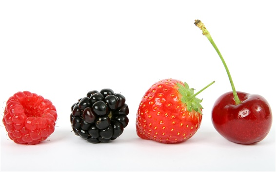 Wallpaper Fruits close-up, raspberry, blackberry, strawberry, cherry, white background