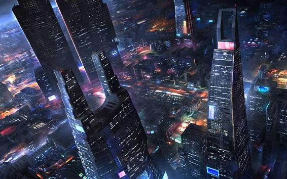 Wallpaper Future city, skyscrapers, night, lights, art design