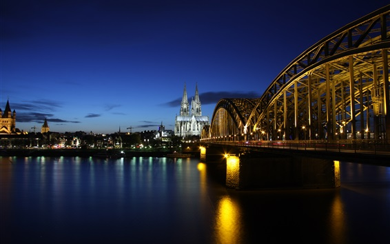 Wallpaper Germany, Cologne, evening, river Rhine, bridge, lights, buildings