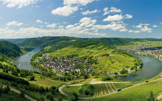 Wallpaper Germany, Mosel, houses, river, fields, trees, mountains, clouds