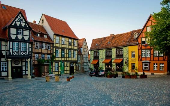 Wallpaper Germany, Quedlinburg, houses, road, cars, coffee bar