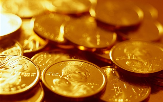 Wallpaper Gold coins close-up, currency