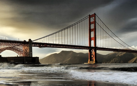배경 화면 골든 게이트 브리지, 샌프란시스코, 캘리포니아, 미국