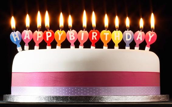 Fond d'écran Joyeux anniversaire gâteau, bougies, feu, style simple
