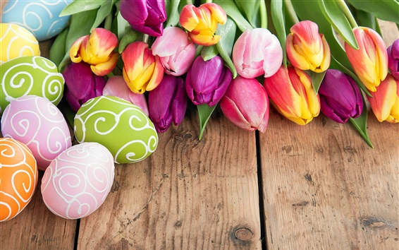 Wallpaper Happy Easter, colorful eggs, beautiful flowers, tulips, spring