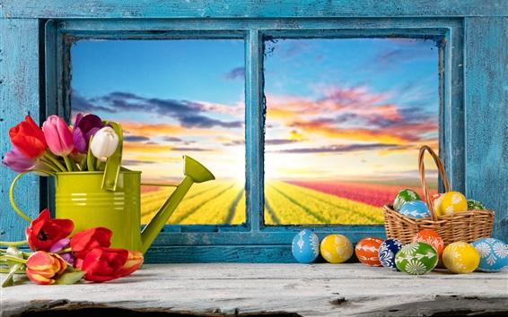壁紙 ハッピーイースター、カラフルな卵、装飾、春、チューリップの花、窓