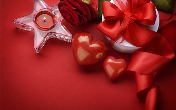 Wallpaper Happy Valentine's Day, love hearts, gift, candle, red style