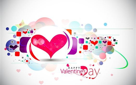 Wallpaper Happy Valentine's Day, love hearts, vector, abstract