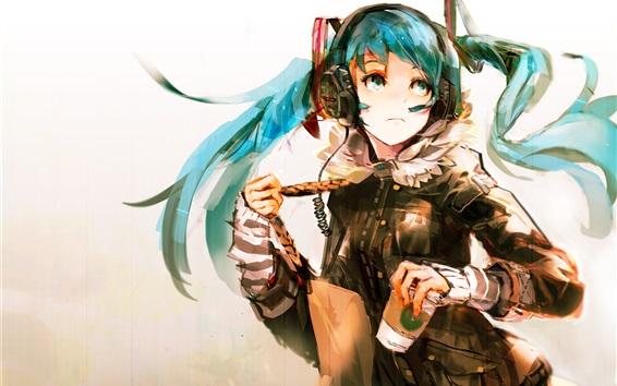 Wallpaper Hatsune Miku, anime girl, blue hair, art picture
