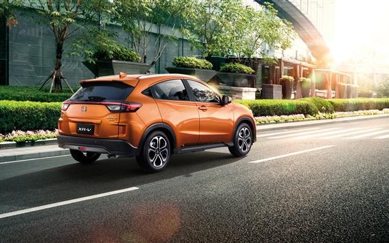 Fond d'écran voiture Honda XR-V d'orange SUV à la ville