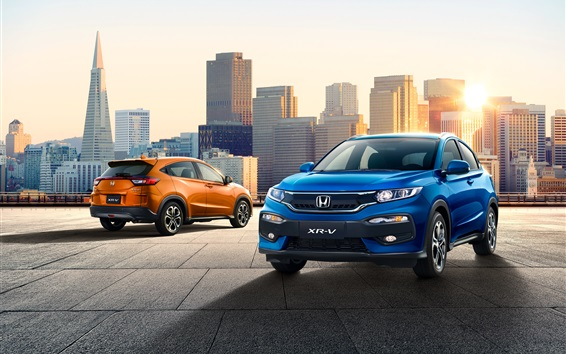 Wallpaper Honda XR-V orange and blue SUV car