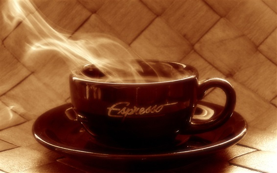 Papéis de Parede café, vapor, copo marrom quente