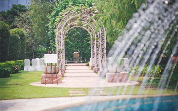 Wallpaper Hotel, fountain, arch gate, trees