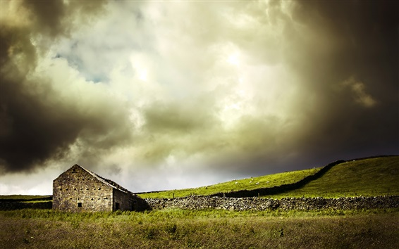 Обои Дом, склон, трава, овцы, облака