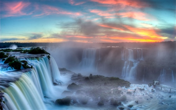 Wallpaper Iguazu Falls, Argentina-Brazil Border, clouds, sunset, mist