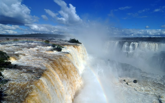 Wallpaper Iguazu Falls, great nature waterfalls, water, rainbow, mist, clouds, Brazil