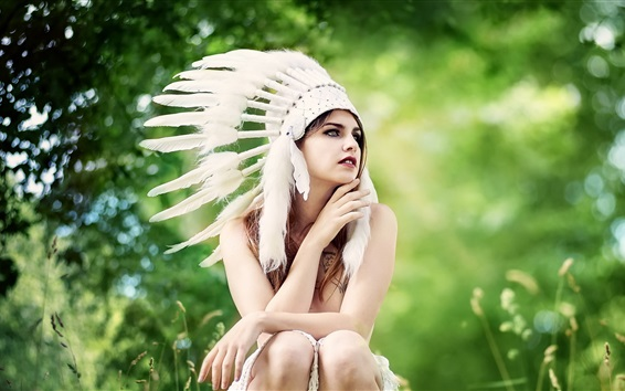 Wallpaper Indian style hat, feathers, girl, summer