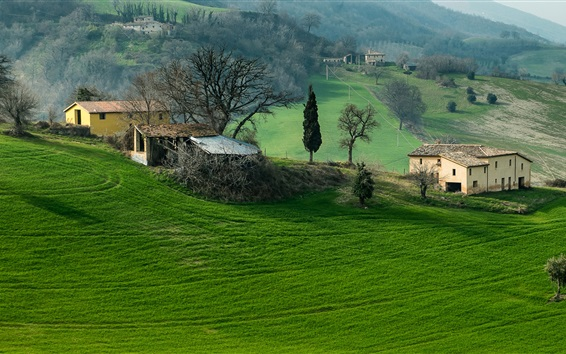 Wallpaper Italy, Campania, mountains, field, trees, grass, house