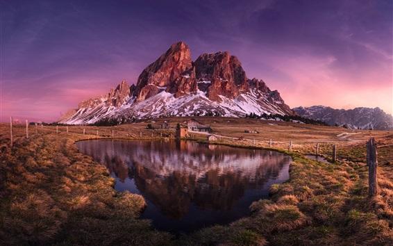 Wallpaper Italy, Dolomites, mountain, lake, grass, houses