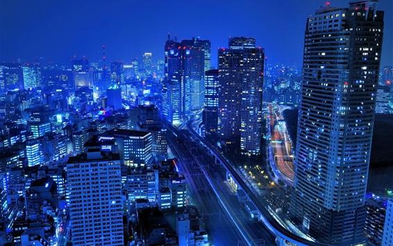 Обои Япония, город, небоскребы, здания, ночь, огни, синий стиль