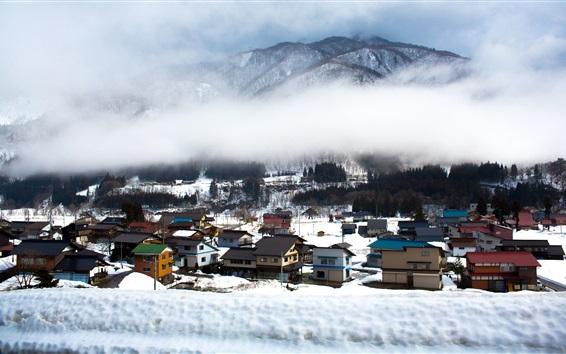 壁紙 日本の旅行場所、白川郷、美しい冬、雪、住宅、村
