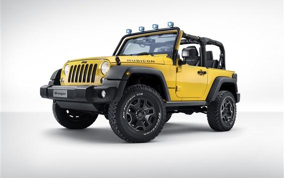 Wallpaper Jeep Wrangler Rubicon Rocks Star, yellow pickup