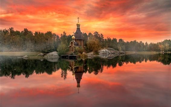 Wallpaper Karelia, Russia, autumn, temple, red sky, river, trees, dusk