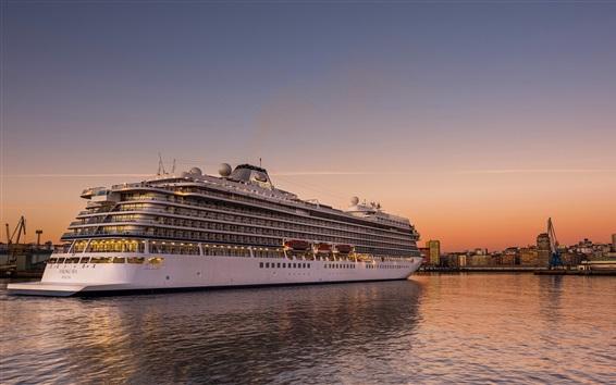 Fondos de pantalla La Coruña, Galicia, España, buque, puerto, puesta del sol