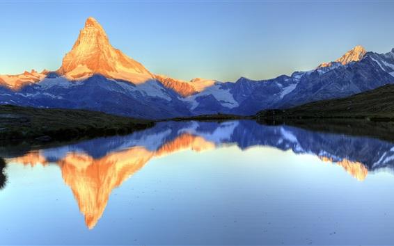 Wallpaper Lake Stella, water reflection, Matterhorn Peak, Zermatt, Valais, Switzerland
