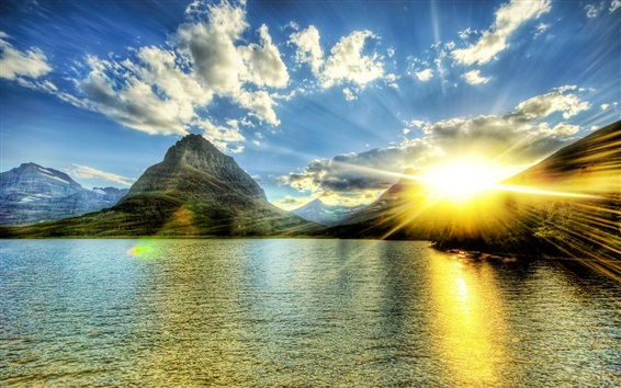 Wallpaper Lake, mountains, sunshine, clouds, glare